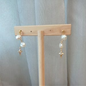 White Keshi Pearls and Golden Star Dangle Earrings, Freshwater Pearls, Cubic Zirconia Star Charm, Ball Ear Studs - JustArtisan - GemibabyCrafts -