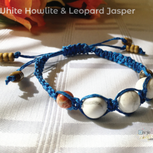 White and Blue (with red and brown) Stone adjustable Shambhala Macramé Bracelet - JustArtisan - angie b. crafts & design -
