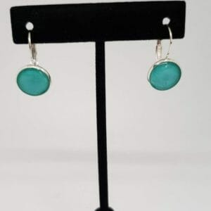 Turquoise Lever Back Earrings (Silver Plated) - JustArtisan - Bella Accessories - Handmade