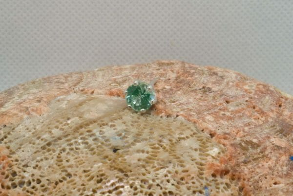 Teal spinel tie tack in silver. - JustArtisan - Mat's Machinations -