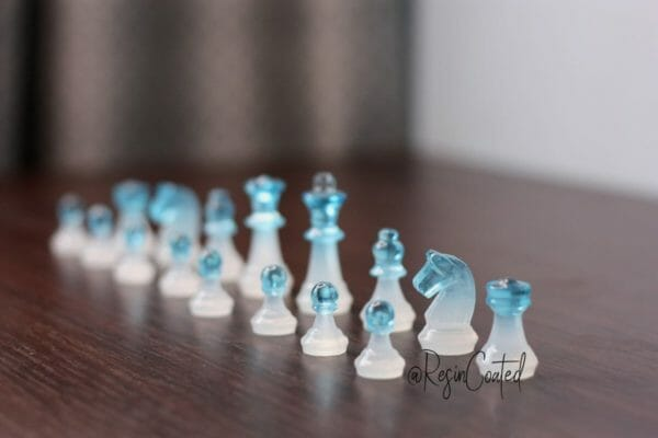 Small White And Blue Resin Chess Set (16 Pieces, Without Board) - Custom Resin Chess Pieces - Handmade Resin Chess Figurines - Chess Player Gift - JustArtisan - ResinCoated -