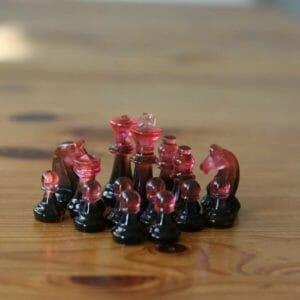 Small Black And Red Pink Resin Chess Set (Without Board) - Custom Resin Chess Pieces - Handmade Resin Chess Figurines - Chess Player Gift - JustArtisan - ResinCoated -