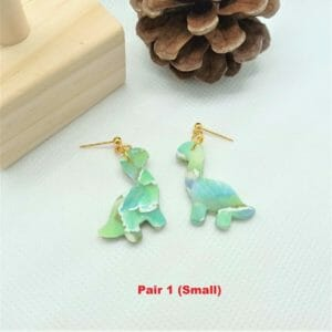 SMALL (RANDOM) Watercolour Frosted Stained Glass Effect Clay Dinosaur Earrings - JustArtisan - GemibabyCrafts -