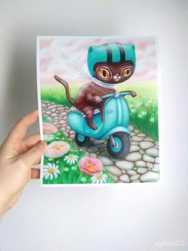 Scooter Cats 2 Print Bundle, 8x10 Digital Prints based on Original Acrylic Paintings, Whimsical Artwork for Cat Lovers, Eclectic Home Decor - JustArtisan - AGblend13 -