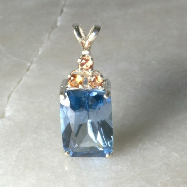 Sapphire pendant with triple padparadscha sapphire accent. - JustArtisan - Mat's Machinations -