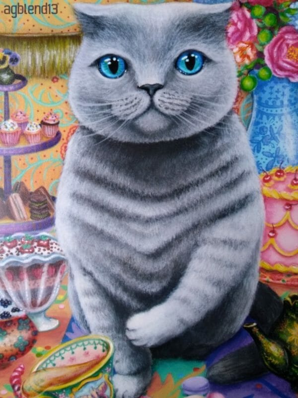 Rude Cat Art Reproduction from an original acrylic painting, 8x10 inch Print, Paw L. Hollywood - JustArtisan - AGblend13 -