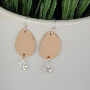 Rose Gold and Silver Earrings with Irridescent Teardrop - JustArtisan - Bella Accessories - Handmade