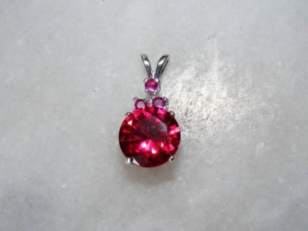 Rich ruby pendant in silver with three acecnt rubies. - JustArtisan - Mat's Machinations -