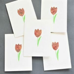 Red Tulip Marbled Stationery Set, Note Card Set - JustArtisan - Queen B Papercrafts -