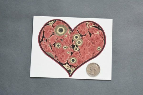 Red Marbled Heart Greeting Card, Notecard - JustArtisan - Queen B Papercrafts -