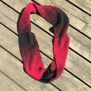 Red and Black Knit Infinity Scarf Cowl - JustArtisan - Created By Kara -