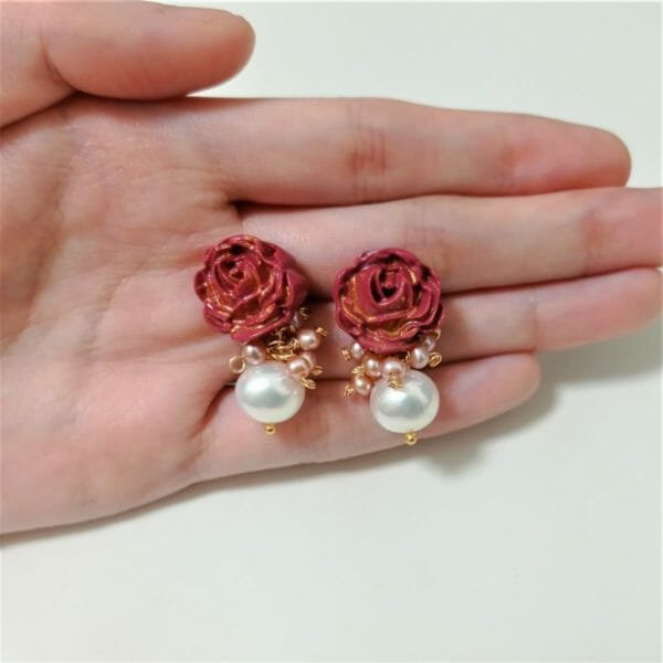 Red & Gold Roses and Pearl Cluster Dangle Stud Earrings - JustArtisan - GemibabyCrafts -