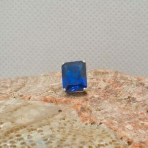 Rectangle sapphire tie tack in silver. - JustArtisan - Mat's Machinations -