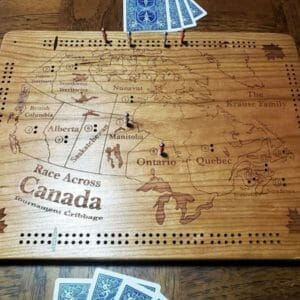 Race Across Canada Tournament Cribbage - JustArtisan - Unique Wood Products -
