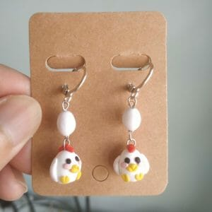 Polymer Clay White Chicken and Egg Earrings - JustArtisan - GemibabyCrafts -
