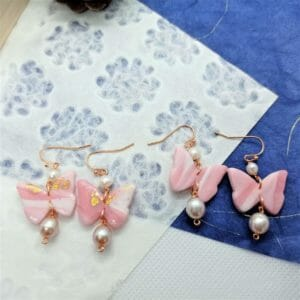 Pink Marble Butterfly and Gems Dangle Earrings - JustArtisan - GemibabyCrafts -