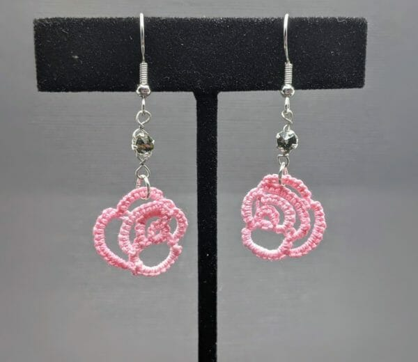Pink and black rose and crystal lace earrings   tatting lace gothic earrings   crystal beaded earrings - JustArtisan - Scribbles & Knots -