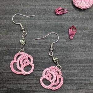 Pink and black rose and crystal lace earrings | tatting lace gothic earrings | crystal beaded earrings - JustArtisan - Scribbles & Knots -