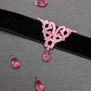 Pink and black lace and velvet choker | lace overlay velvet choker with crystal drop - JustArtisan - Scribbles & Knots -