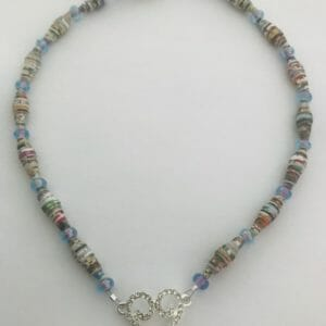 Paper bead choker necklace with Heart connector - JustArtisan - JGaw Craft-y-Arts - Handmade