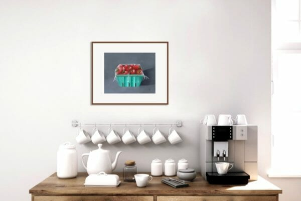 Original painting 18x24 acrylic art for kitchen, Fine art strawberries in green and red, Fruit Painting for kitchen, Acrylic painting. - JustArtisan - Ann.Cloutier.Art -