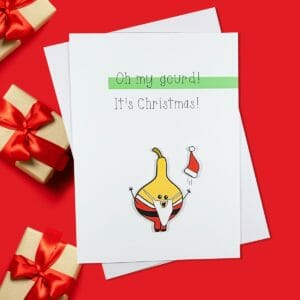 Oh My Gourd It's Christmas Funny Pun Card - JustArtisan - Hello Mosswood -