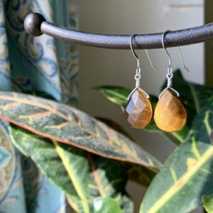 Natural Tiger's Eye Sterling Silver Faceted Earrings - Authentic Crystal Drop Dangle Earrings - JustArtisan - Little Gifts of Grace -