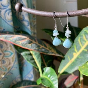 Natural Sterling Silver Larimar and Amazonite Earrings - Unique Blue Crystal Drop Dangle Earrings - JustArtisan - Little Gifts of Grace -