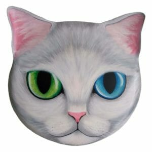 Mystical White Kitty - unique painting on metal - JustArtisan - AGblend13 -