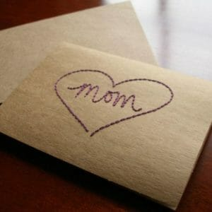 Mom Embroidered Heart Card - Embroidered Mother's Day Card - Mom Heart Card - JustArtisan - Prop Tart Studios -