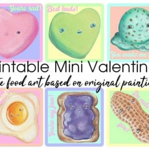 Mini Valentine's Day Cards, Instant Download Printable Art Cards, Cute Food Paintings, Adorable Multipack PDF, Wholesome and Quirky Gift Tag - JustArtisan - AGblend13 -