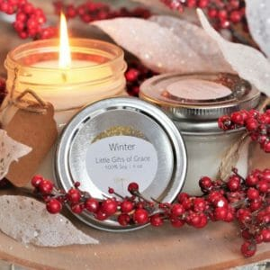 Mason Jar Candle, Winter Scent, Pine Scent, Farmhouse Candle, 8 oz Candle, 4 oz Candle - Winter - JustArtisan - Little Gifts of Grace -