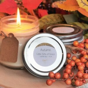 Mason Jar Candle, Farmhouse Candle, Handmade Soy Candle, 8 oz Candle, 4 oz Candle - Autumn (Autumn Leaves) - JustArtisan - Little Gifts of Grace -