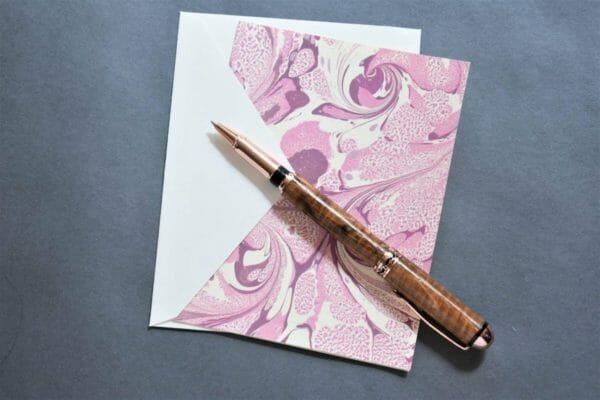 Marbled Pink and Purple Handmade Greeting Card, Note Card - JustArtisan - Queen B Papercrafts -