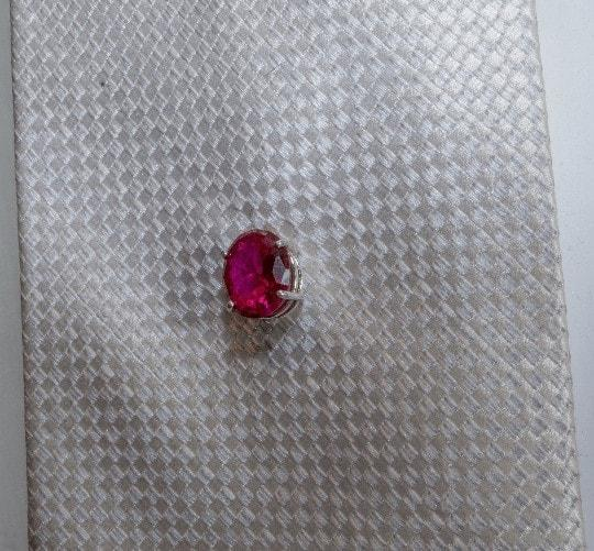 Large bright red ruby tie tack - JustArtisan - Mat's Machinations -