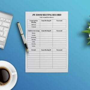JW Printable Zoom Meeting Record Book for Congregation and Service Meeting ID's. Instant Download, jw gift, jw org - JustArtisan - JW Printable Gifts -