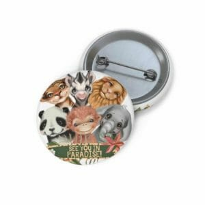 JW Pin Buttons with Paradise Animal Scene | See You In Paradise - JustArtisan - JW Printable Gifts -