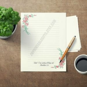 JW Letter Writing Paper. Perfect for Self Isolation. This is an DIY Instant Download JW Gift Rose Pattern, jw gift, jw org, jw witnessing - JustArtisan - JW Printable Gifts -