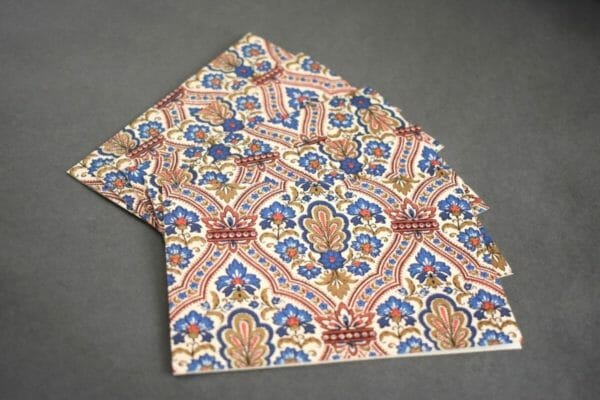 Italian Brocade Pattern Red and Blue Note Card Set, Stationery Set - JustArtisan - Queen B Papercrafts -
