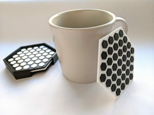 Honeycomb Coasters With Stand - 3D Printed set of four with stand - JustArtisan - Neyth Makes - Handmade