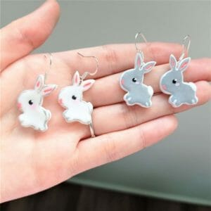 Hand-painted Grey or White Baby Bunnies Earrings, Lightweight Clay Accessories - JustArtisan - GemibabyCrafts -