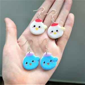 Hand-painted Chubby Baby Bird Earrings (1 PAIR), Lightweight Clay Accessories - JustArtisan - GemibabyCrafts -