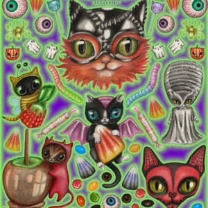 Halloween Cats Clip Art based on original watercolor paintings - JustArtisan - AGblend13 -