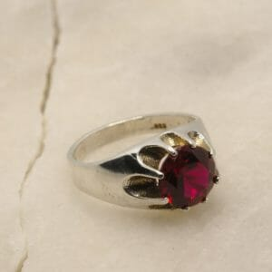 Gypsy mount ruby and sterling ring. - JustArtisan - Mat's Machinations -