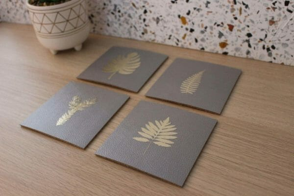 Grey Faux Leather Coasters with Gold Foil Leaves - JustArtisan - SkillAndGrace - Handmade