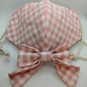 Gingham cotton mask and matching hair bow | hair clip bow | two-layer cotton face mask | cute cotton face mask and matching bow - JustArtisan - Scribbles & Knots -