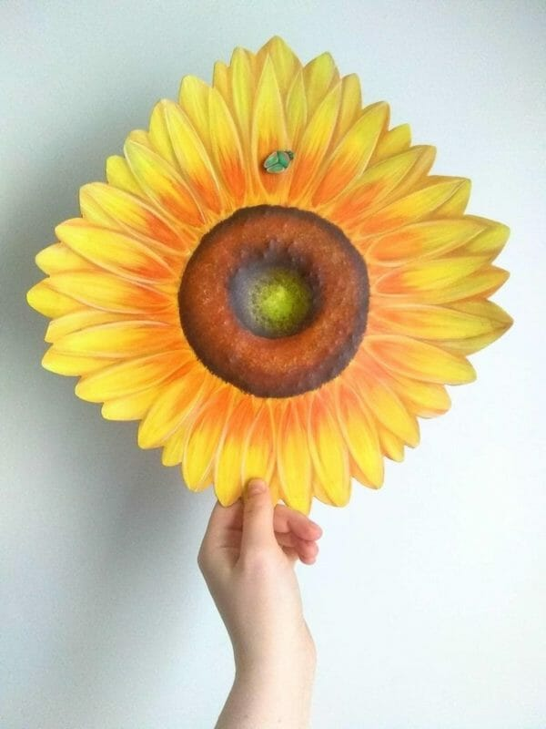 Giant Sunflower Painting on Metal, Beautiful Botanical, Cheerful Floral Wall Art, Hand Painted Cottage Decor, Quirky Traditional Original - JustArtisan - AGblend13 -