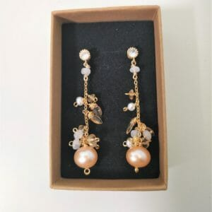 Freshwater Peach Pearls and Citrine Cluster Dangle Earrings - JustArtisan - GemibabyCrafts -
