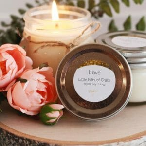 Floral Scented Soy Candle, 8 oz Candle, Mason Jar Candle - Love - JustArtisan - Little Gifts of Grace -
