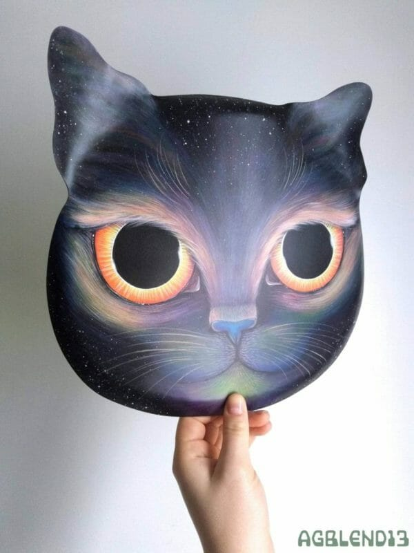 Double Eclipse Celestial Cat Face, Original Painting on Metal by AGblend13 - JustArtisan - AGblend13 -